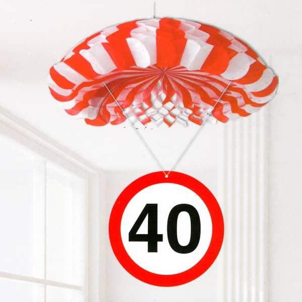 Partydekoration zum 40. Geburtstag Verkehrszeichen Fallschirm