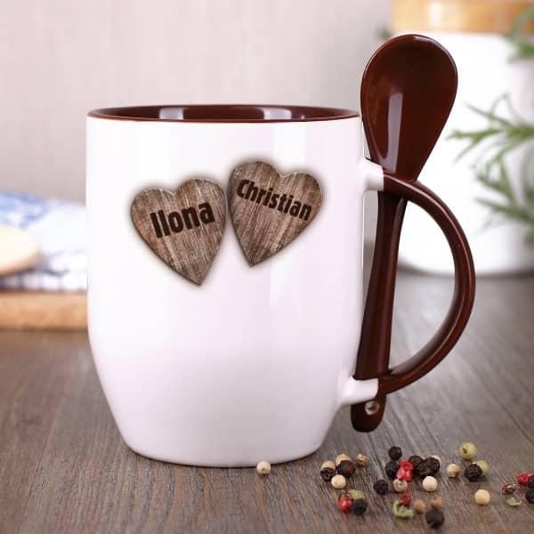Löffeltasse mit Herzen und Wunschnamen