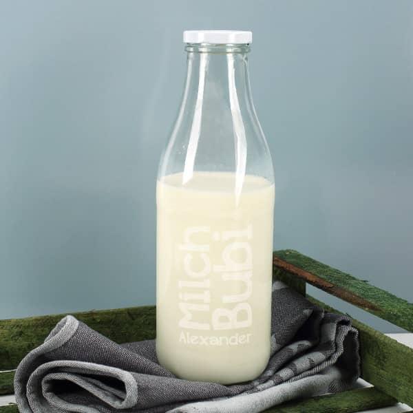 Große Glasflasche 1 Liter mit Milch Bubi Motiv und Name