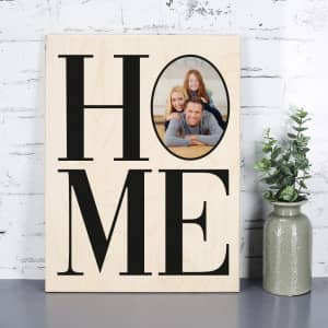 Home Holzbild mit Foto