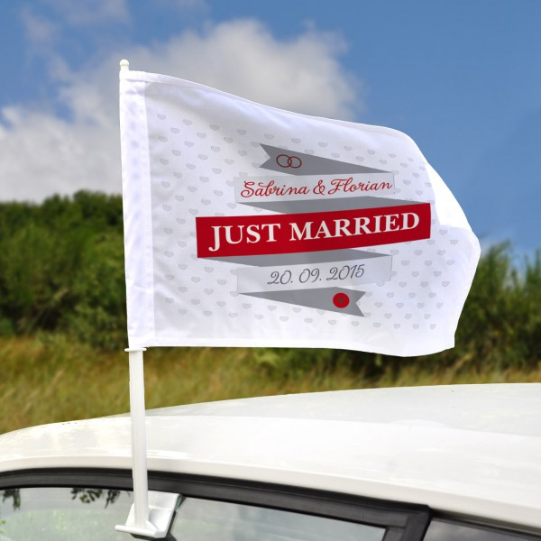 Hochzeit Autoflagge - Just Married - mit Namen