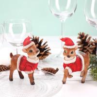 2 weihnachtliche Rehe - stehend (9 cm)