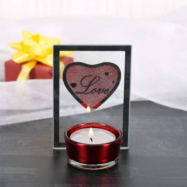Glas Teelichthalter mit rotem Glitzerherz