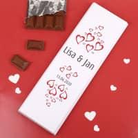 300g Schokolade mit Herzen, Wunschnamen und Datum