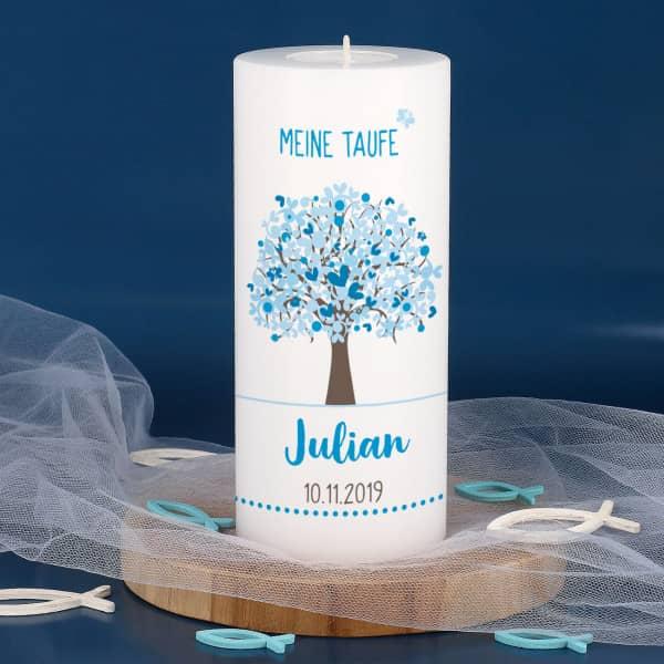 Nützlichdekoration - Tauf Dauerkerze inkl. Teelicht mit blauem Lebensbaum bedruckt - Onlineshop Geschenke online.de