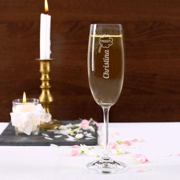 Sektglas mit Namensgravur und Kleeblatt zum Neuen Jahr