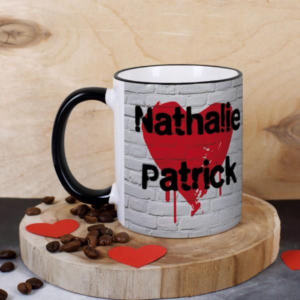 Kaffeetasse für Verliebte mit Graffitiherz