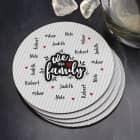 We are family - Untersetzer mit vier Namen (4er Set)