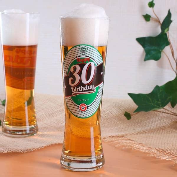 Pilsglas zum 30. Geburtstag mit Bierlogo