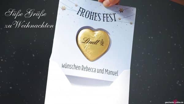 süße Weihnachtsgrüße   personalisierte Karte mit Lindt-Herz zu Weihnachten