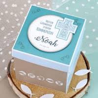 Überraschungsbox zur Kommunion in hellblau, für Geldgeschenke und Gutscheine