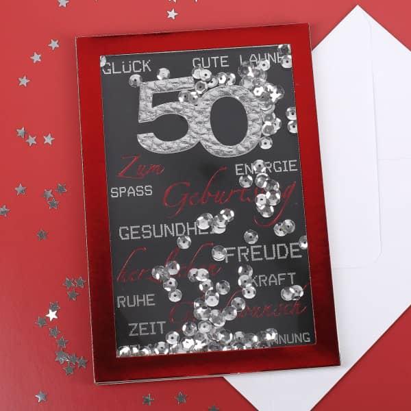 Konfetti-Schüttel-Karte in rot zum 50. Geburtstag