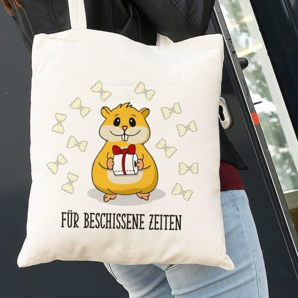 Hamster - Beutel mit Klopapier, Nudeln und WunschtextHamster - Beutel mit Klopapier, Nudeln und Wunschtext
