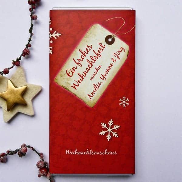 Schokolade zu Weihnachten mit Name