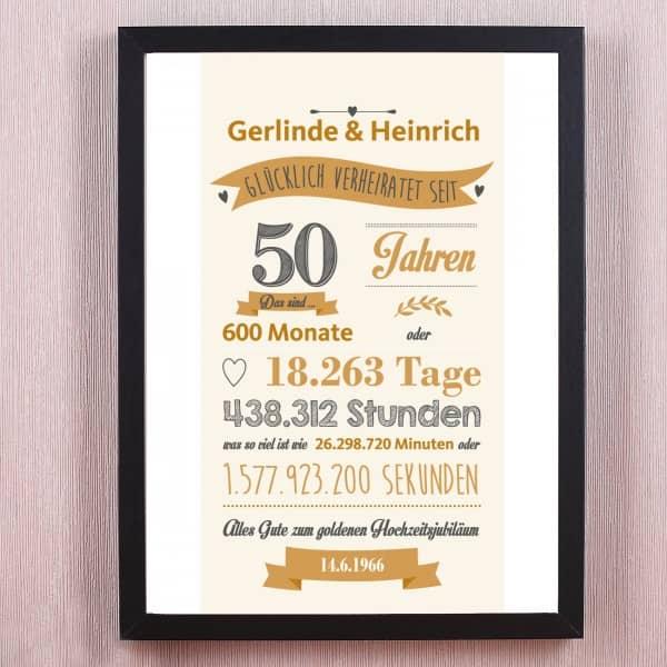 Personliches Wandbild Goldene Hochzeit Verheiratet Seit
