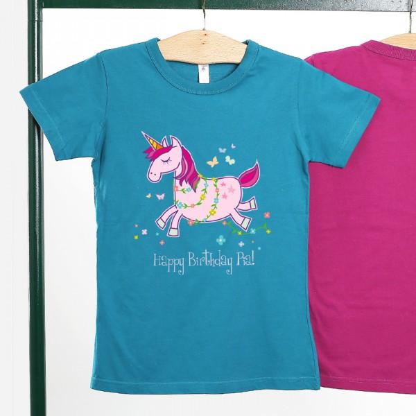 Einhorn T Shirt mit Blumen, Schmetterlingen und Wunschtext