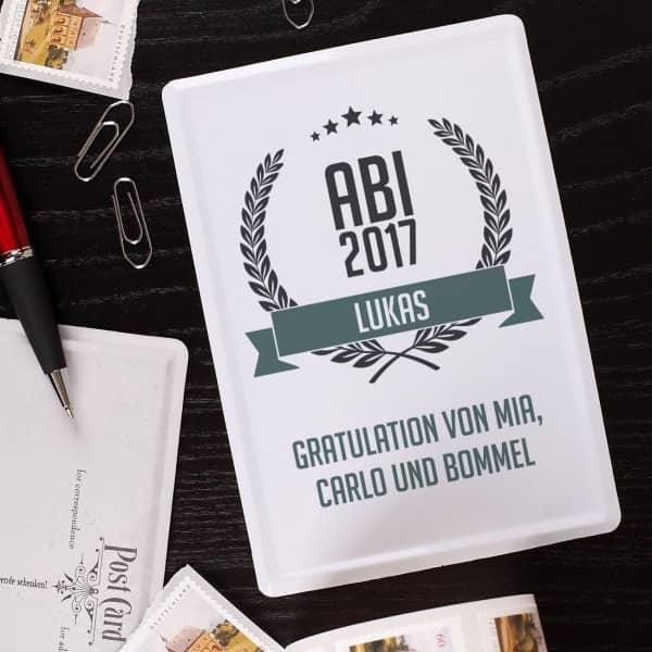 Abitur 2017 Blechpostkarte mit Glückwunschtext und Name