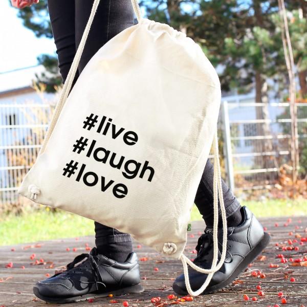 Rucksack mit eigenen Hashtags
