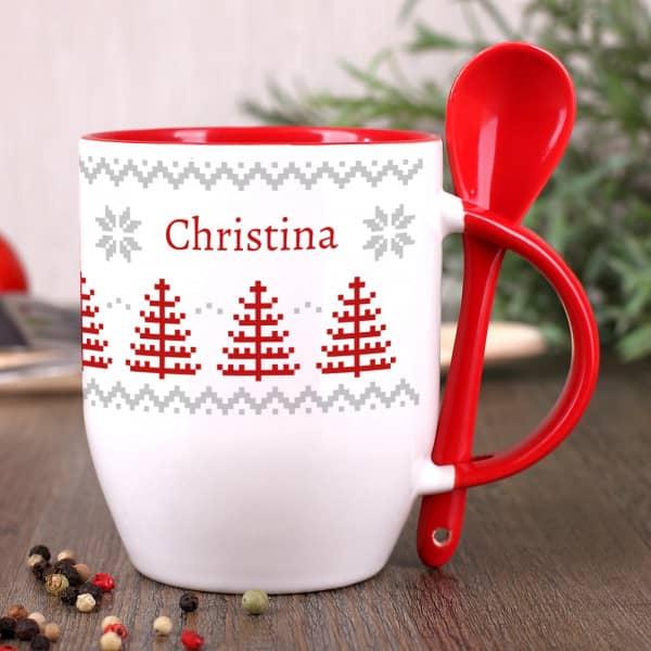 Löffeltasse bedruckt mit Wunschtext Foto  Becher Fototasse mit Bild Weihnachten