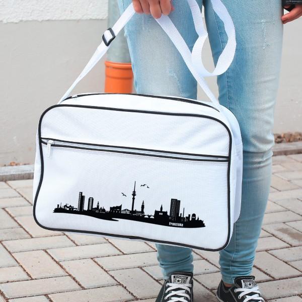 Retro Tasche mit coolem Aufdruck - Skyline von Hamburg