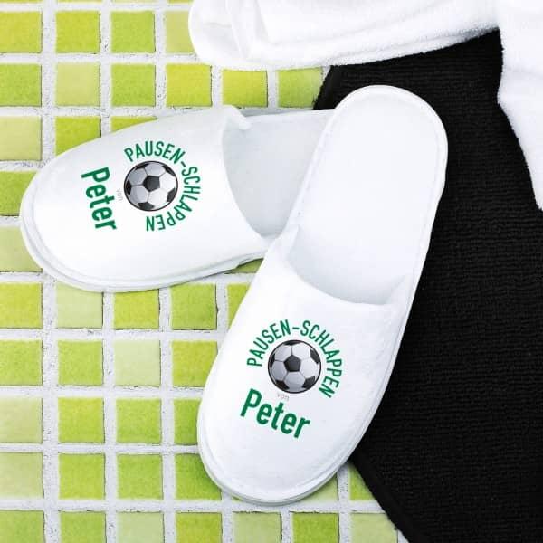 Fußball-Pantoffeln mit Name