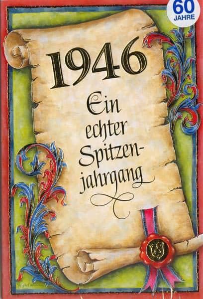 Glückwunschkarte 1946 Ein echter Spitzenjahrgang