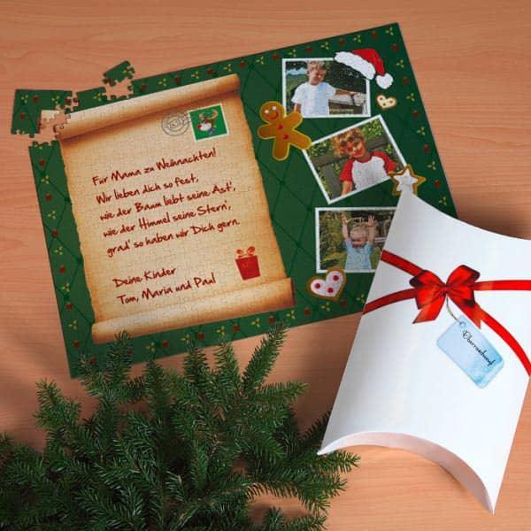 XXL Puzzle mit Fotos und Text zu Weihnachten