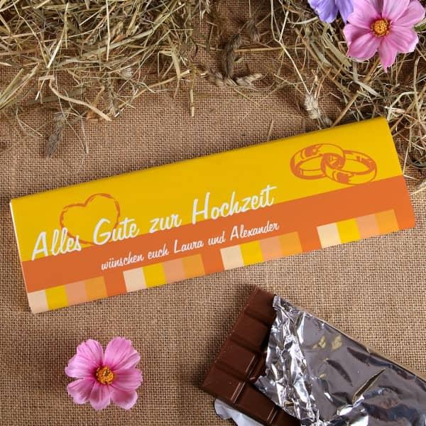 300g Schokolade zur Hochzeit mit Wunschtext