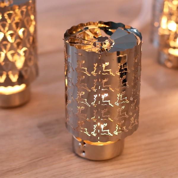 Rotierender Teelichthalter Silber Rentier