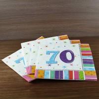 farbenfrohe Servietten zum 70. Geburtstag