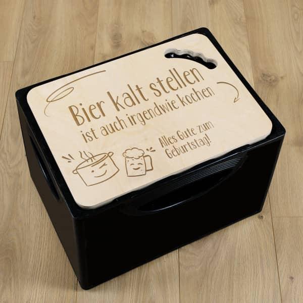 Bierkastendeckel mit lustigem Spruch, Kochtopf und Bierkrug Motiv und mit Text personalisiert
