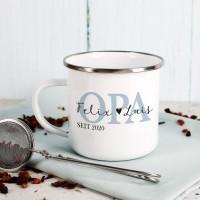 Metallbecher für den besten Opa mit Namensaufdruck der Enkel