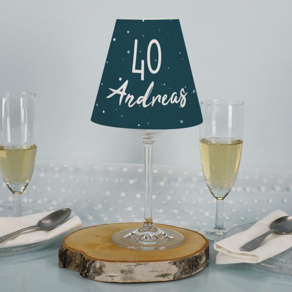 Lampenschirm mit Weinglas als Tischbeleuchtung zum Geburtstag