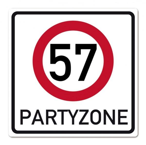 Geburtstagsschild Partyzone zum 57. Geburtstag