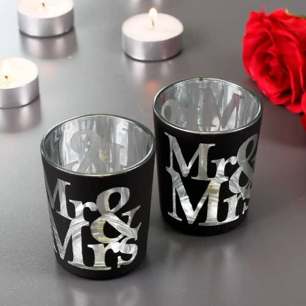 2er-Set Kerzenhalter Mr & Mrs Schwarz zur Hochzeit