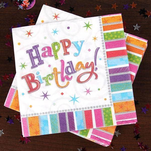 16 Servietten Happy Birthday Serie radiant
