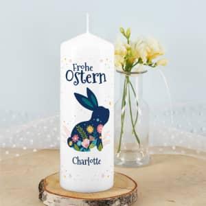 Personalisierte Osterkerze mit Hase
