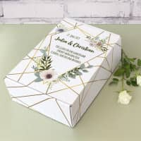Bedruckter Geschenkkarton zur Hochzeit mit Blüten und Wunschtext