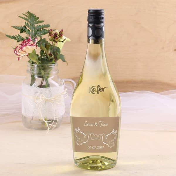 Prosecco Flasche mit Taubenmotiv zur Hochzeit