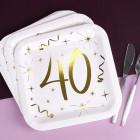 Quadratische Pappteller mit Gold-Metallic zum 40. Geburtstag