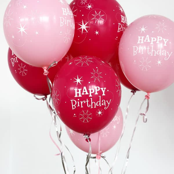 25 gro e helium ballons happy birthday in pink. Black Bedroom Furniture Sets. Home Design Ideas