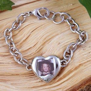 Silbernes Foto-Armband mit Herz und Karabinerhaken