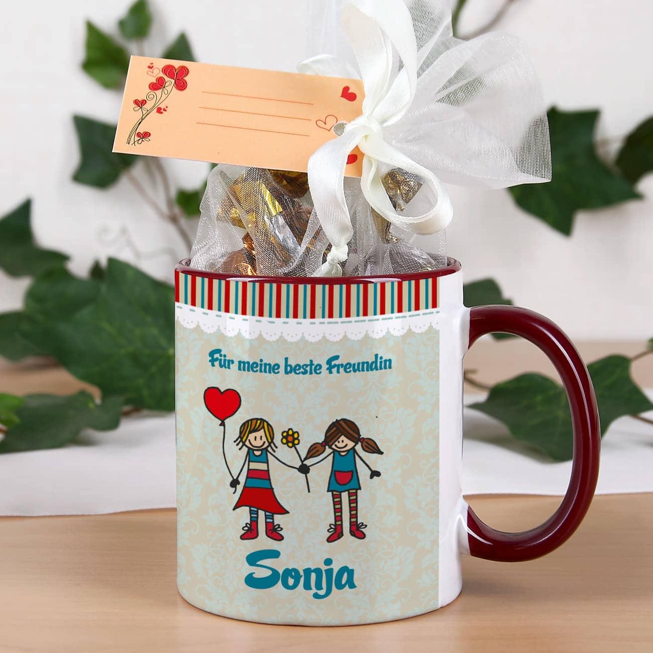 tasse mit 8 pralinen im organzas ckchen wird mit ihrem wunschnamen bedruckt geschenke. Black Bedroom Furniture Sets. Home Design Ideas