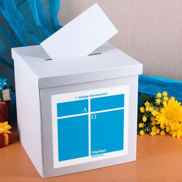 Kartenbox für Jungen zur Kommunion mit Namen und Datum