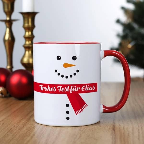 Schneemann Tasse mit Wunschtext