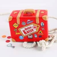 Rote Spardose - Reisekasse als Koffer