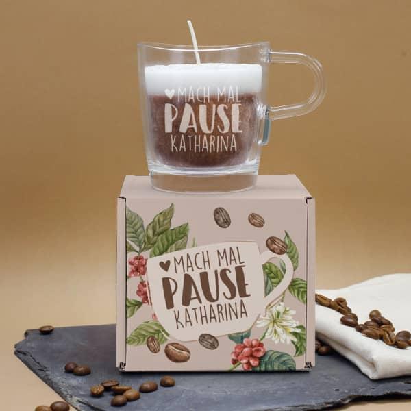 Cappuccino Duftkerze im Glas mit Gravur und Geschenkverpackung