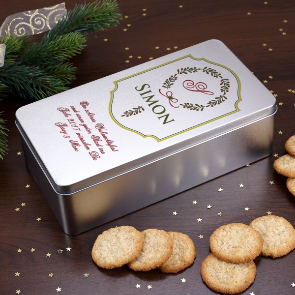 Geschenkdose Weihnachten mit Name, Initiale und Wunschtext