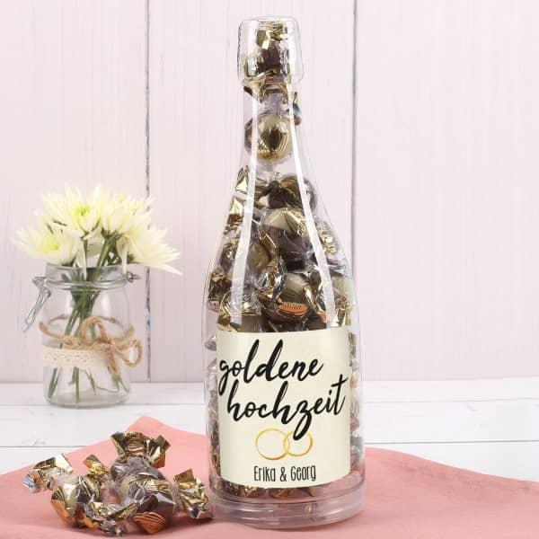 - Pralinenflasche zur Goldhochzeit mit Namensaufdruck - Onlineshop Geschenke online.de