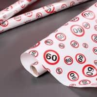 Geschenkpapier mit Verkehrsschildern zum 60. Geburtstag